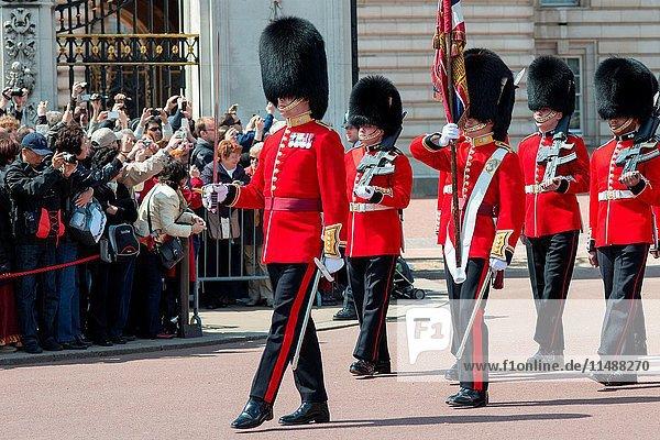 Changing of the guard at Buckingham palace London UK.