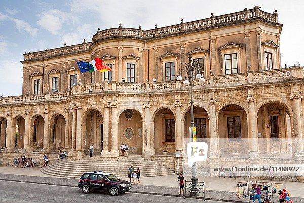 Palazzo Ducezio  the Town Hall  Corso Vittorio Emanuele  Noto  Sicily  Italy.