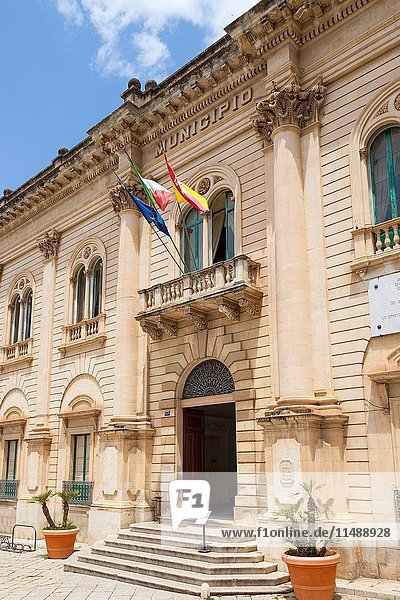 The Municipio  Town Hall  featured in Inspector Montalbano TV series  Scicli  Sicily  Italy.