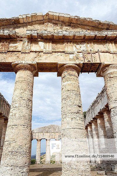 The Doric Temple  Segesta Archaeological Site  Segesta  Province of Trapani  Sicily  Italy.