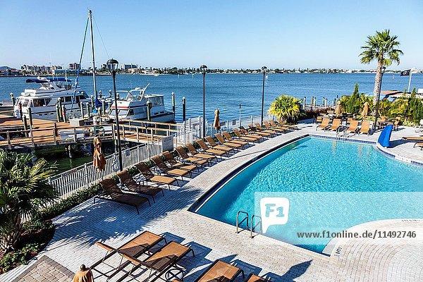 Florida  St. Saint Petersburg  Madeira Beach  Courtyard by Marriott  hotel  swimming pool  Boca Ciega Bay  marina