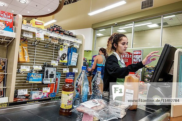 Florida  Ft. Fort Myers  Publix  supermarket  grocery store  interior  food  cashier  woman  employee  checkout