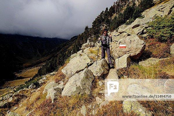 Trekker   Aran   Lleida province  Pyrenean mountain range  Catalonia   Spain