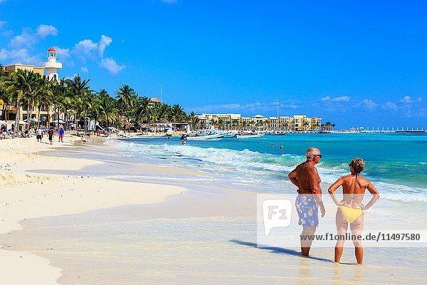 Beach at Playa Del Carmen  Riviera Maya  Mexico.