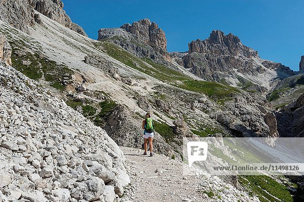 Italy  Trentino Alto Adige  Val di Fassa  Hiker on his way to the Principe Pass along the trial n. 584 from the Vajolet refuge.