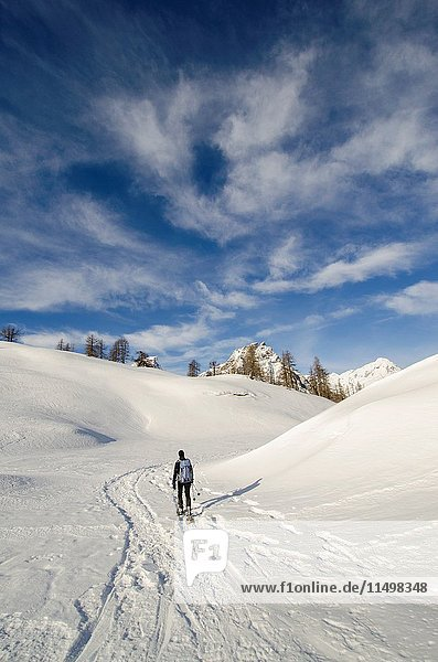 An hiker  alone  in the snow (Devero  Ossola  Piedmont).