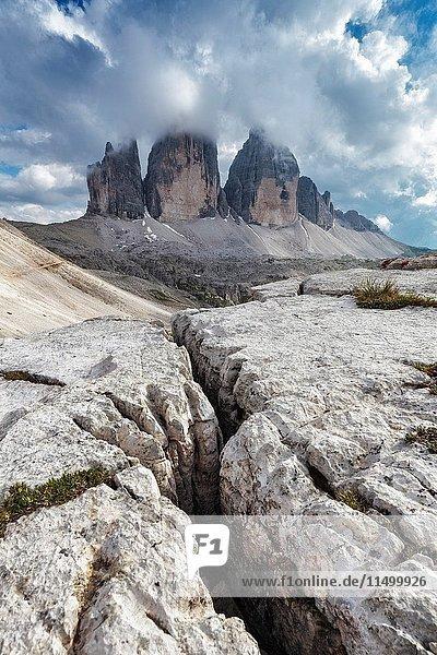 Europe  Italy  Dolomites. The Tre Cime di Lavaredo on the border between the provinces of Bolzano and Belluno.