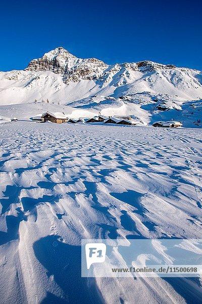 The Alpe Prabello  Prabello Alp in winter  Valmalenco  Valtellina  Italy.