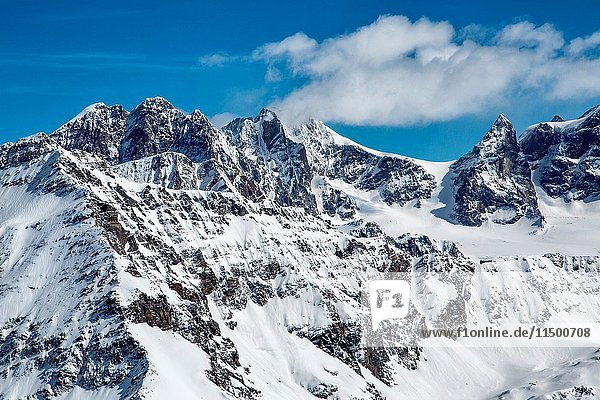 Aerial view of Bernina Group with the Ex Refuge Entova  Valmalenco Valtellina Lombardy Italy Europe.
