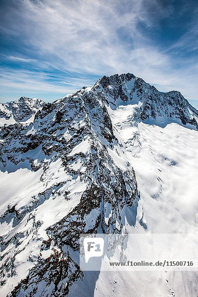 Aerial view of the north wall of Monte Disgrazia  Disgrazia Mount  covered with snow and ice  Valmalenco  Valtellina  Italy.