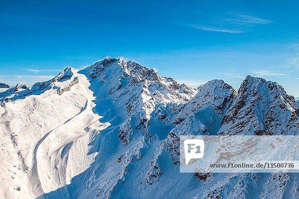 Aerial view of Mount Disgrazia and Corni Bruciati Valmasino Valtellina Lombardy  Italy Europe.