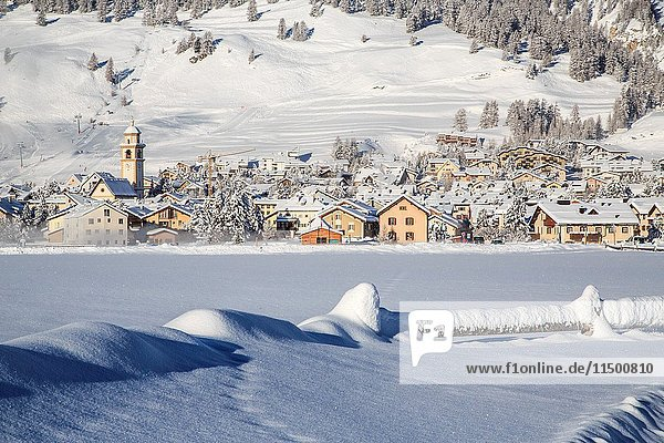 The village of Samedan in winter Engadine  Canton of Grisons Switzerland Europe.