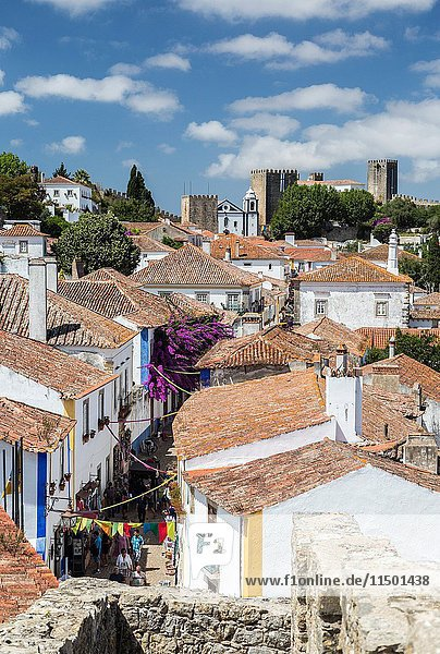 View of the fortified village and the ancient castle of Obidos Oeste Leiria District Portugal Europe.