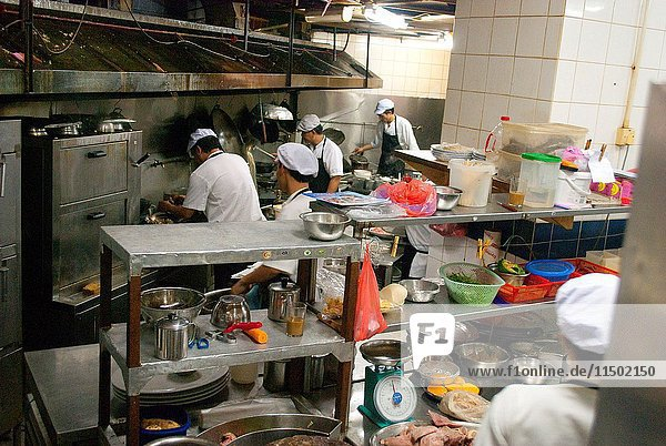Inside a kitchen in a very trendy restaurant in Kuching  Malaysia.