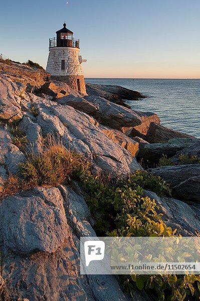 Castle Hill lighthouse  Narragansett Bay evening  Newport  RI.  Rhode Island. U.S.A.