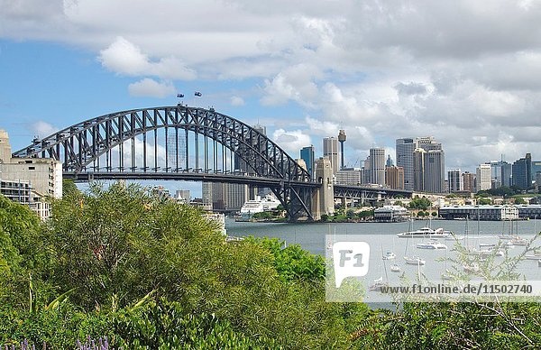 Harbour Bridge and skyline with water of Sydney Australia in New South Wales Australia