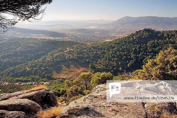 Sierra de Gredos and Cebreros from Barragan's viewpoint. Avila. Castilla Leon. Spain. Europe.