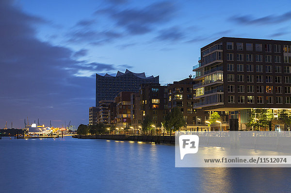 Elbphilharmonie concert hall and apartments of Marco Polo Terrace in HafenCity  Hamburg  Germany