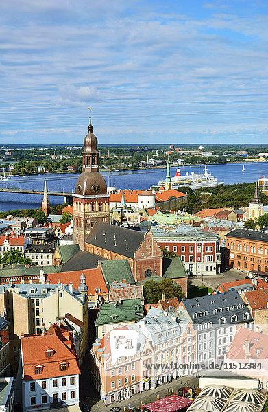 The Old Town  a Unesco World Heritage Site  and the Daugava river. Riga  Latvia