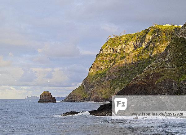 View of the cliffs near the Ponta de Sao Jorge  Madeira  Portugal  Atlantic Ocean  Europe