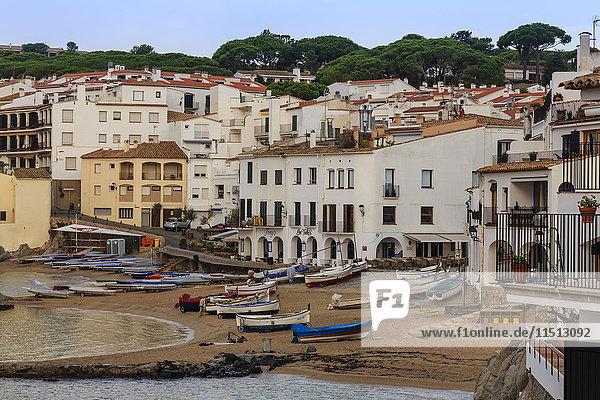 Calella de Palafrugell  early morning  fishing boats on small beach  Costa Brava  Girona  Catalonia  Spain  Europe