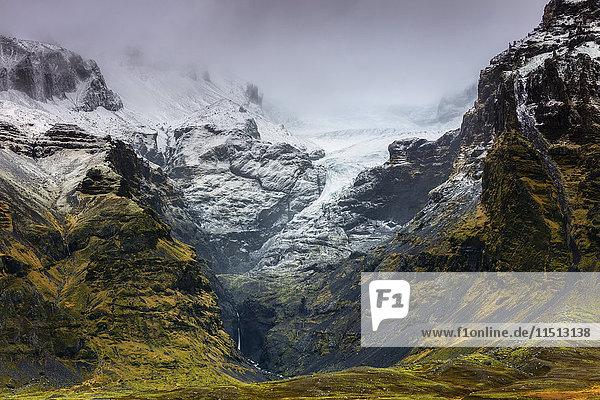 Mountains below the Vatnajokull glacier near Hofn  Iceland  Polar Regions