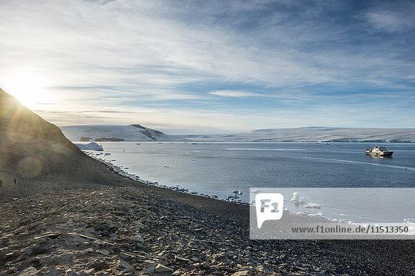 Icebreaker anchoring on Paulet Island  Antarctica  Polar Regions