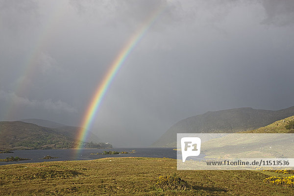 Rainbow over Glenveagh National Park  County Donegal  Ulster  Republic of Ireland  Europe