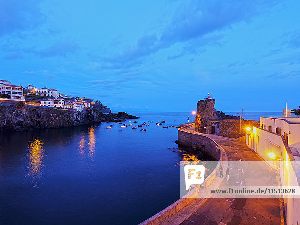 Twilight view of the fishing port in the Camara de Lobos  Madeira  Portugal  Atlantic  Europe