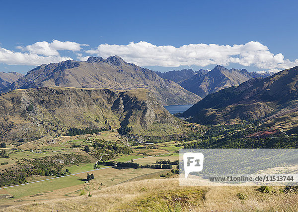 View towards Lake Wakatipu from the Coronet Peak road  Queenstown  Queenstown-Lakes district  Otago  South Island  New Zealand  Pacific