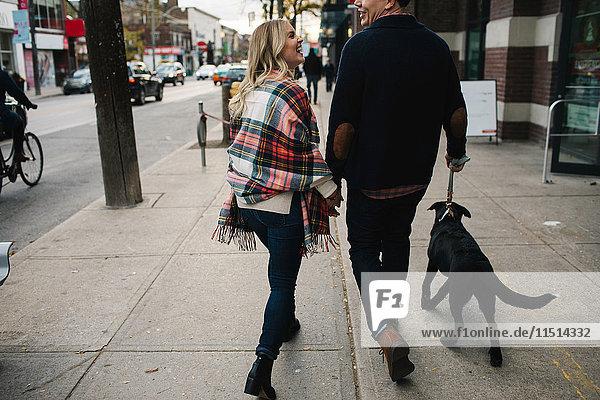 Junges Paar beim Hundeausführen auf der Straße  Rückansicht