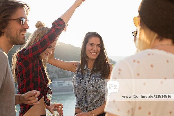Erwachsene Freunde tanzen auf einer Dachterrassenparty am Wasser  Budapest  Ungarn