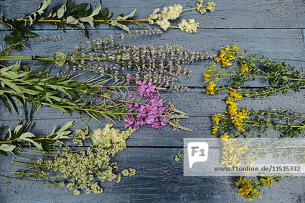 Multicolor flowers laying on wooden table