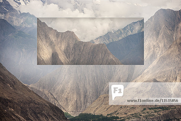 Glitch effect of mountains and valley  Hunza  Northern Areas  Pakistan