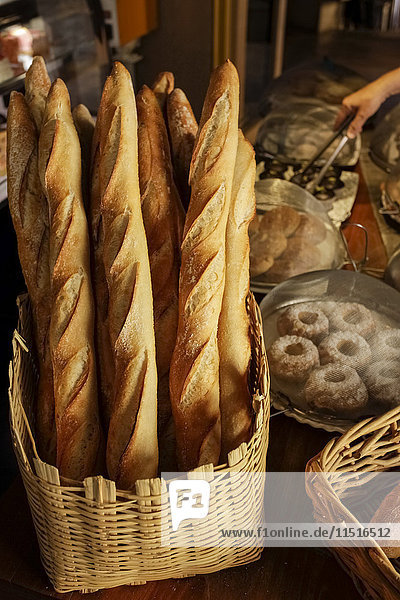 Basket of bread in bakery