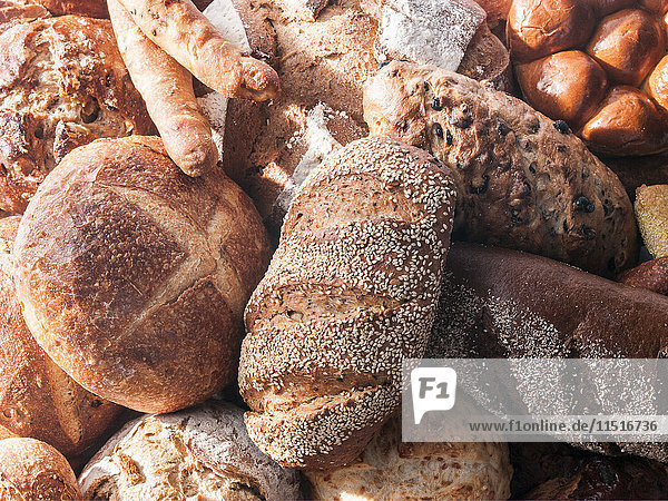 Pile of assorted breads