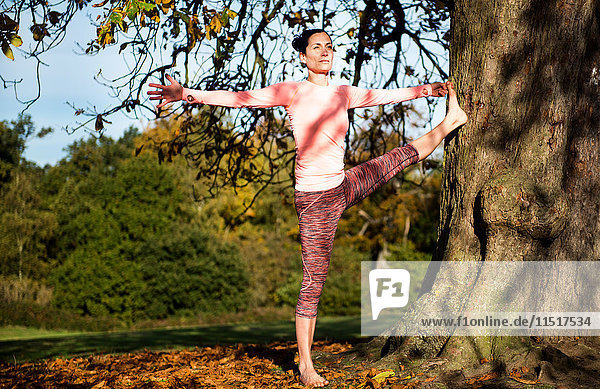 Frau macht am Herbsttag Yoga im Park