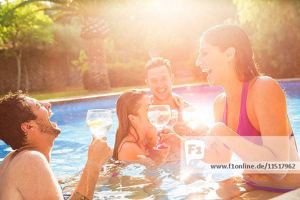 Freunde im Schwimmbad  die einen Toast aussprechen