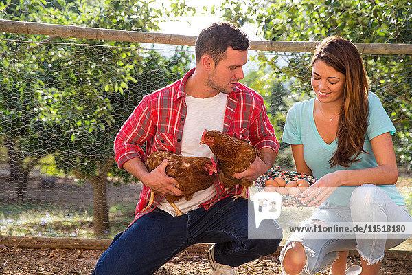 Paar aus biologischer Landwirtschaft  das Freilandhühner und einen Korb mit Eiern hält