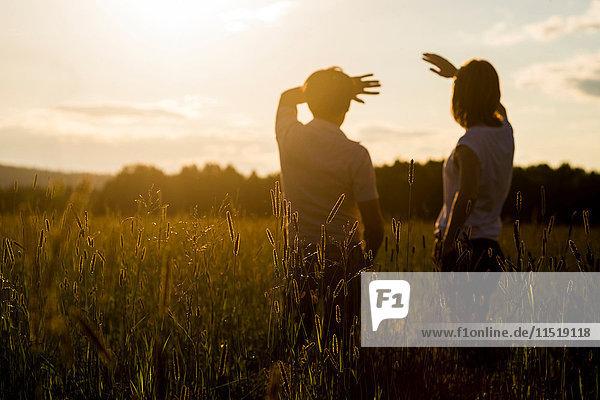 Ehepaar schaut auf den Sonnenuntergang im Feld