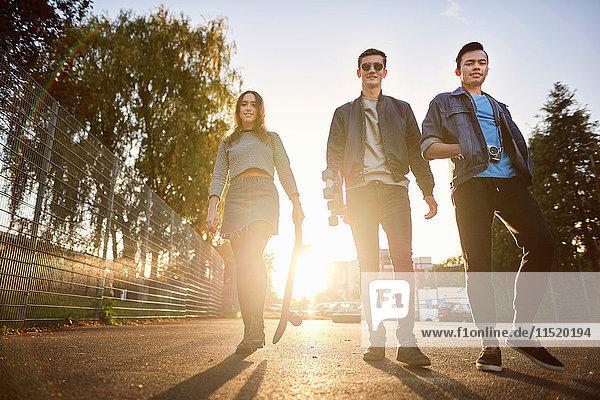 Portrait of young female skateboarder and male friends walking on sunlit street