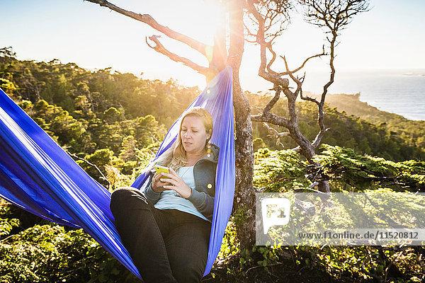 Female hiker looking at smartphone in hammock  Pacific Rim National Park  Vancouver Island  British Columbia  Canada