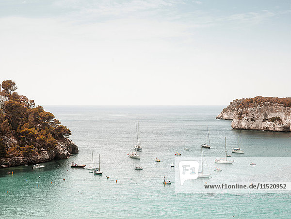 Elevated view of boats in sea  Menorca  Spain