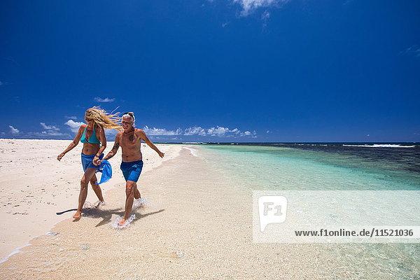 Mature couple walking along beach  holding hands  Ile aux Cerfs  Mauritius