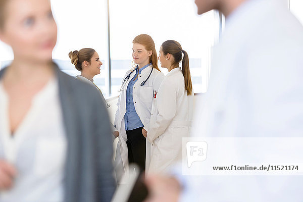 Over shoulder view of female doctors having discussion in hospital