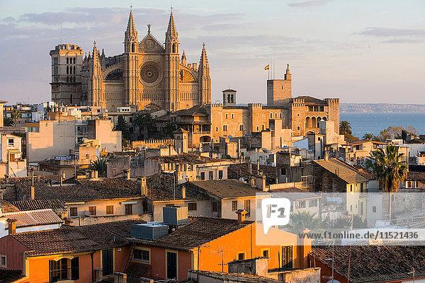 Stadtbild mit Kathedrale La Seu und Dächern  Palma de Mallorca  Mallorca  Spanien
