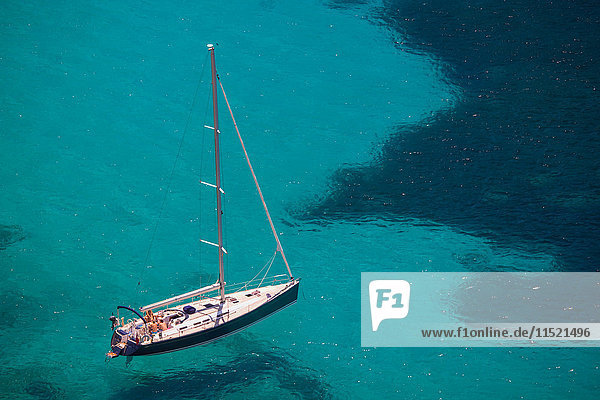 High angle view of yacht in turquoise sea  Majorca  Spain