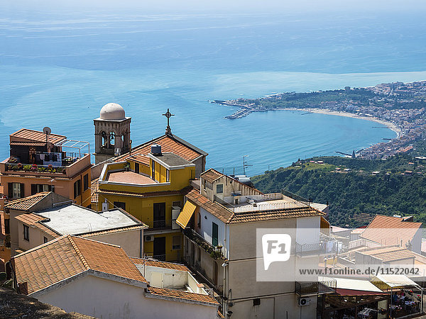 Italy  Sicily  Castelmola  view above the old town to the bay of Giardini Naxos