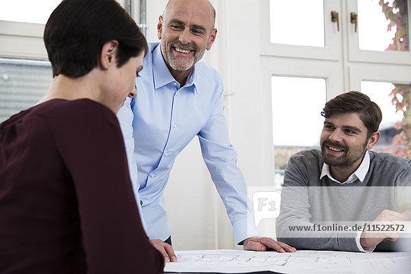 Lächelnde Kollegen bei der Zusammenarbeit im Büro