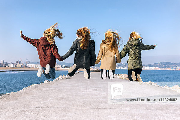 Back view of four friends jumping in the air